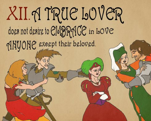 A panel from my Rules of Courtly Love kids book